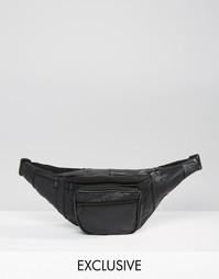 Кожаная черная сумка-пояс Reclaimed Vintage - Черный