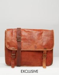 Светло-коричневая кожаная сумка через плечо Reclaimed Vintage
