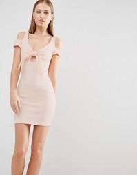 Облегающее платье мини с бантом Oh My Love - Телесный