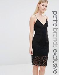 Платье-комбинация с кружевной отделкой TFNC Petite - Черный