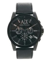 Часы с хронографом и ремешком из черной кожи Armani Exchange AX2098