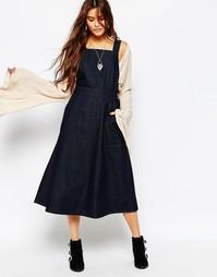 Длинное джинсовое платье-сарафан с карманами Free People - Синий