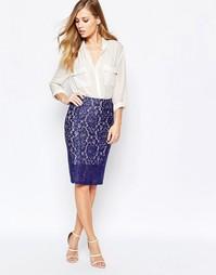 Облегающая юбка из синего кружева Sisley - Синий
