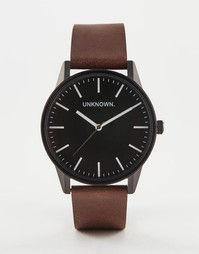 Классические часы с черным циферблатом и кожаным ремешком UNKNOWN