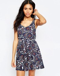 Платье с принтом пейсли и молнией Brave Soul - Royal