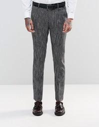 Черно-белые фактурные брюки слим ASOS - Черный