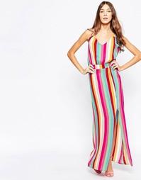 Платье макси в разноцветную полоску Style London - Мульти