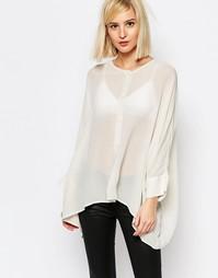 Рубашка прямого кроя на пуговицах спереди Selected Vanna - Кремовый