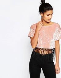 Бархатная укороченная футболка с кисточками Story Of Lola - Розовый