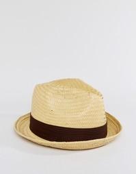 Соломенная шляпа-федора Brixton Castor - Коричневый