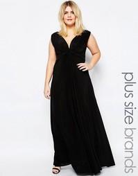 Платье макси размера плюс с узелком спереди Goddiva Plus - Черный