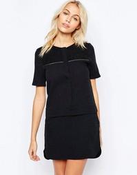 Цельнокройное платье-рубашка с окантовкой металлик See U Soon - Черный