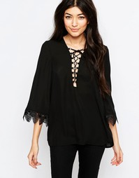Блузка с шнуровкой спереди и кружевной отделкой Wyldr Jenna - Черный