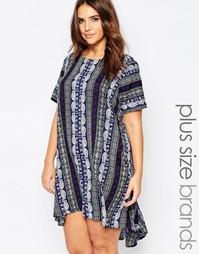 Свободное платье с принтом слонов AX Paris Plus - Синий разноцветный