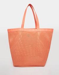 Пляжная сумка-шоппер с вырезами ASOS - Коралловый
