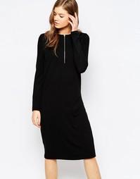 Платье с молнией спереди Pieces Cruna - Черный