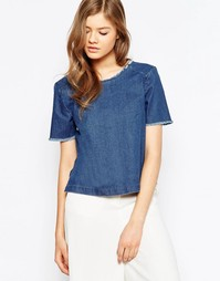 Джинсовая рубашка с необработанным краем горловины Pieces - Синий