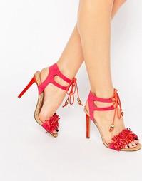 Розовые сандалии на каблуке с бахромой Miss KG Elisa - Розовый