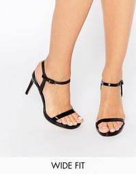 Черные легкие сандалии на каблуке Faith Wide Fit Dolly