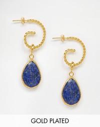 Серьги с отделкой из ляпис лазури Ottoman Hands - Золотой