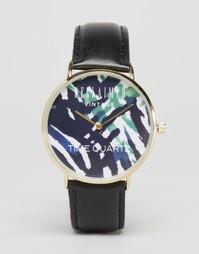 Часы с кожаным ремешком и принтом Reclaimed Vintage - Черный