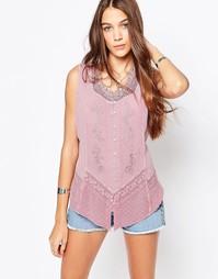Джинсовая рубашка без рукавов с вышивкой Brave Soul - Античный розовый