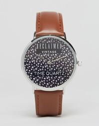 Часы с цветочным принтом и коричневым кожаным ремешком Reclaimed Vinta
