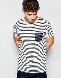 Полосатая футболка с карманом в звездочку Brave Soul - Синий