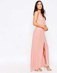 Платье макси с оборкой и разрезом спереди Jarlo - Розовый