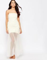 Платье-бандо с шифоновым верхним слоем макси Jarlo - Античный кремовый