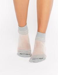 Прозрачные носки с полосками у кромки и на носке Pretty Polly - Серый