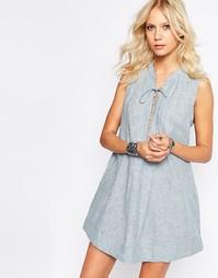 Платье из ткани шамбре Free People Poppin Off - Шамбре комбинированный