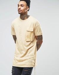 Длинная потертая футболка Granted - Бежевый