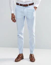 Зауженные брюки из смешанного льна ASOS - Синий
