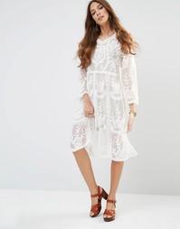 Прозрачное платье миди с отделкой Raga Afternoon Affair - 01 белый