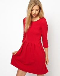 Структурированное короткое платье-клеш из фактурного хлопка Ganni