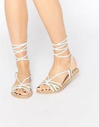 Кожаные сандалии с высокой завязкой ASOS FEELING - Естественный