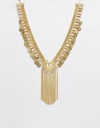 Ожерелье-воротник на массивной цепочке с монетками ASOS - Кремовый