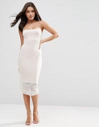 Платье миди с кружевной кромкой в стиле 90-х ASOS - Телесный