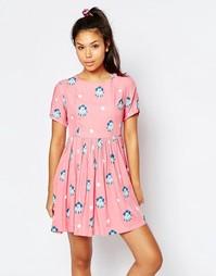 Платье с присборенной юбкой с принтом в горошек и пудель Lazy Oaf