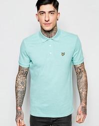 Мятная меланжевая футболка‑поло с логотипом‑орлом Lyle & Scott