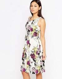 Платье миди с цветочным принтом и v-образным вырезом Closet - Кремовый