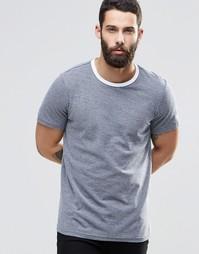 Темно-синяя футболка с контрастной отделкой Farah - Темно-синий