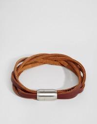 Плетеный кожаный браслет Reclaimed Vintage - Коричневый