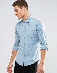 Джинсовая рубашка зауженного кроя с длинными рукавами Esprit