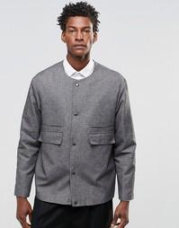 Строгий пиджак без воротника ASOS - Серый