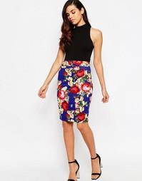 Облегающая юбка с цветочным принтом Vesper Vanessa - Кобальтовый
