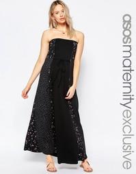 Длинное платье-бандо для беременных с принтом ASOS Maternity - Мульти