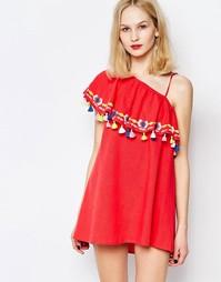 Платье на одно плечо с оборками и кисточками Piper Java - Коралловый