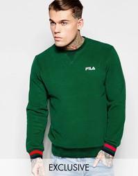 Черный свитшот с маленьким логотипом Fila - Зеленый